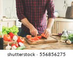 man preparing delicious and... | Shutterstock . vector #556856275