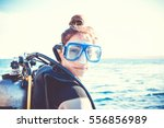 portrait of a young girl diver... | Shutterstock . vector #556856989