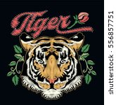 tiger embroidery design.vector | Shutterstock .eps vector #556857751