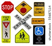 highway sign collection... | Shutterstock . vector #55687114