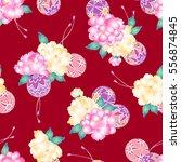 japanese style peony pattern   Shutterstock .eps vector #556874845