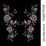 embroidery ethnic flowers neck... | Shutterstock .eps vector #556879939