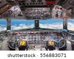 Airplane Cockpit View.