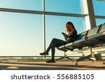 young girl at the station... | Shutterstock . vector #556885105