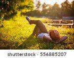 trendy hipster girl relaxing on ... | Shutterstock . vector #556885207