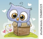 birthday card with a cute... | Shutterstock . vector #556885225