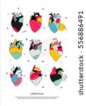 a set of human hearts in the... | Shutterstock .eps vector #556886491
