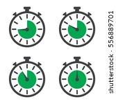 stopwatch set in a flat design... | Shutterstock .eps vector #556889701