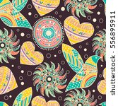 seamless pattern with hearts in ... | Shutterstock .eps vector #556895911
