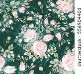 seamless pattern bouquet bud... | Shutterstock . vector #556904401