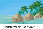bungalows on the ocean... | Shutterstock .eps vector #556909711