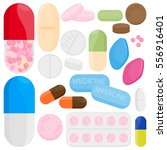 medicine  capsules  drugs and... | Shutterstock .eps vector #556916401