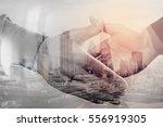double exposure of business... | Shutterstock . vector #556919305