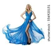 woman fashion blue dress ... | Shutterstock . vector #556920151