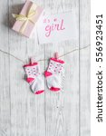 birth of girl   baby shower... | Shutterstock . vector #556923451