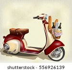 old scooter with  basket of...   Shutterstock .eps vector #556926139