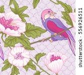 flowers and bird. seamless... | Shutterstock .eps vector #556926511