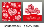 set of seamless patterns and... | Shutterstock .eps vector #556927081