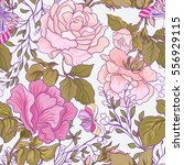 seamless patterns with rose... | Shutterstock .eps vector #556929115