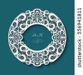 circle frame with lace border... | Shutterstock .eps vector #556941811