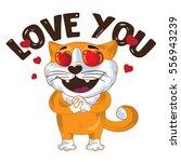 cartoon vector ginger cat in... | Shutterstock .eps vector #556943239