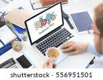 gears and business plan... | Shutterstock . vector #556951501