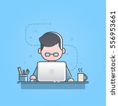 young man sitting and working... | Shutterstock .eps vector #556953661