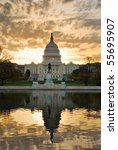Stock photo capitol hill building in the morning with colorful cloud washington dc 55695907