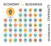 economy and business icons set | Shutterstock .eps vector #556966675