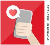 text message love on a mobile... | Shutterstock .eps vector #556971181