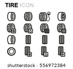 vector line tire icons set | Shutterstock .eps vector #556972384