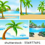 ocean scene with coconut trees... | Shutterstock .eps vector #556977691