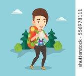 caucasian backpacker with... | Shutterstock .eps vector #556978111