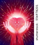 heart in open hands with... | Shutterstock .eps vector #556978201