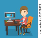 caucasian woman sitting at desk ... | Shutterstock .eps vector #556980124