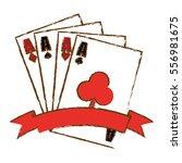 poker cards icon over white... | Shutterstock .eps vector #556981675