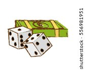 pair of dices and money bills... | Shutterstock .eps vector #556981951