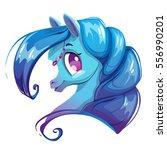 beautiful cartoon horse face.... | Shutterstock .eps vector #556990201