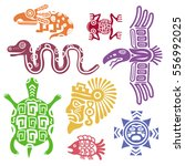 ancient mexican symbols vector... | Shutterstock .eps vector #556992025