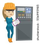 woman working on control panel. ... | Shutterstock .eps vector #556995985