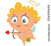 cute cupid with bow and arrow... | Shutterstock .eps vector #556999699