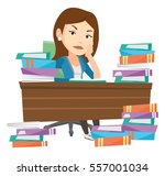 angry student studying with... | Shutterstock .eps vector #557001034