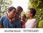 young african american parents... | Shutterstock . vector #557001685