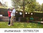 senior black couple dance in... | Shutterstock . vector #557001724
