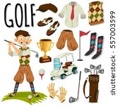 golfer and golf accessories.... | Shutterstock .eps vector #557003599