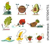 funny fruits and vegetables... | Shutterstock .eps vector #557004751