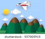 fighter plane flying in the sky ... | Shutterstock .eps vector #557005915