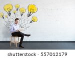 businessman sitting with laptop.... | Shutterstock . vector #557012179