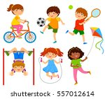 active kids playing outdoors | Shutterstock .eps vector #557012614