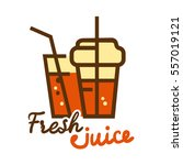 colorful fresh orange juice... | Shutterstock .eps vector #557019121